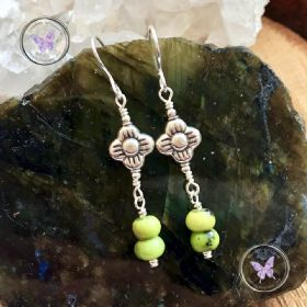Chrysoprase Silver Flower Earrings
